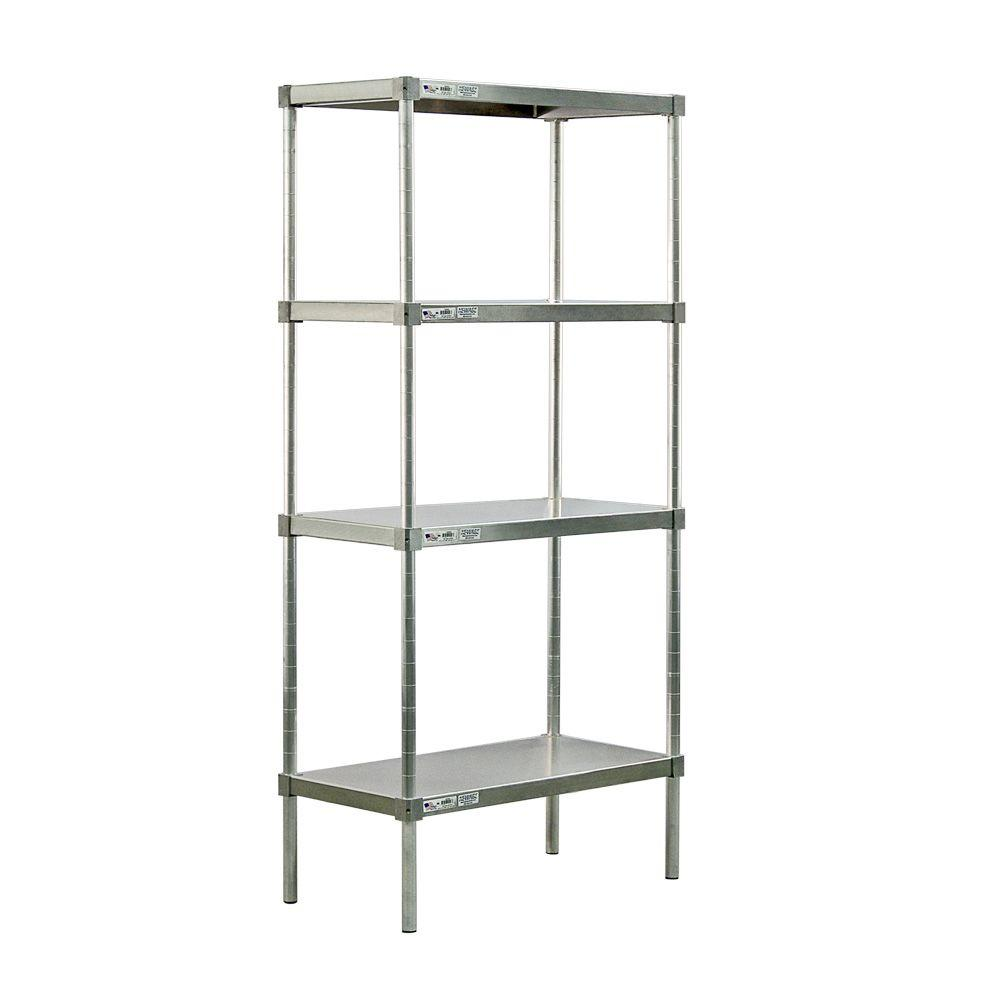New Age Industrial 4-Shelf Aluminum Solid Top Style Adjustable Shelving