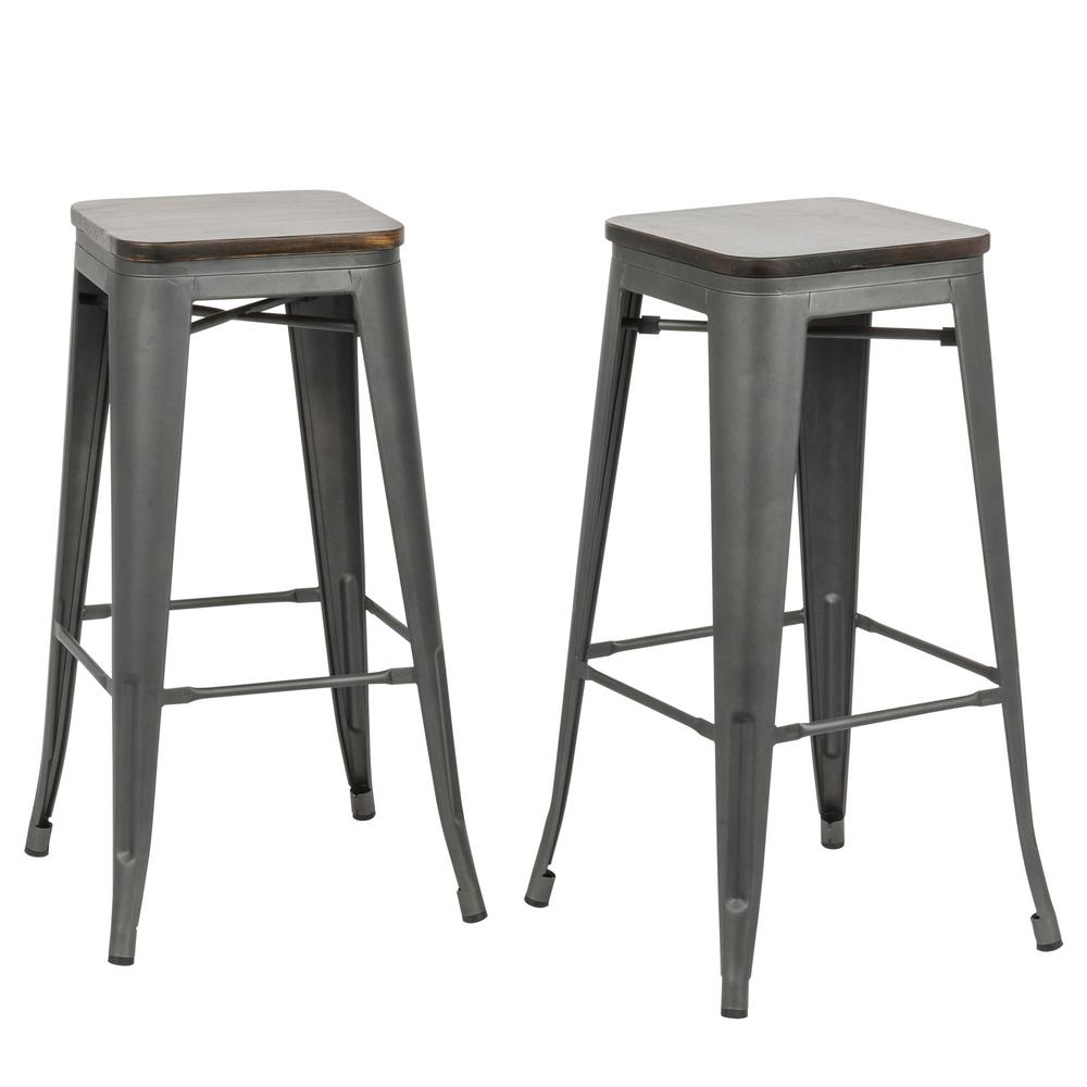 Outstanding Cormac 30 In Rustic Pewter Wood Seat Bar Stool Set Of 2 Pabps2019 Chair Design Images Pabps2019Com