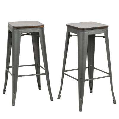 Cormac 30 in. Rustic Pewter Wood Seat Bar Stool (Set of 2)