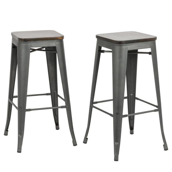 Incroyable Carolina Forge Cormac 30 In. Rustic Pewter Wood Seat Bar Stool (Set Of 2