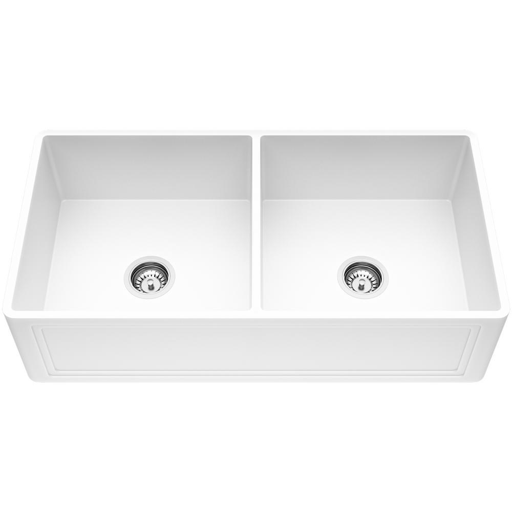 Crown Farmhouse/Apron-Front Matte Stone 36 in. Double Bowl Kitchen Sink In Matte White