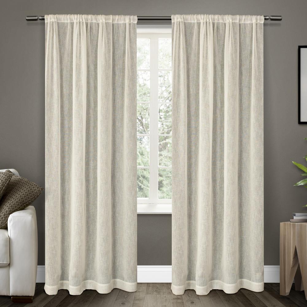 Belgian Snowflake Textured Linen Look Jacquard Sheer Rod Pocket Top Window Curtain