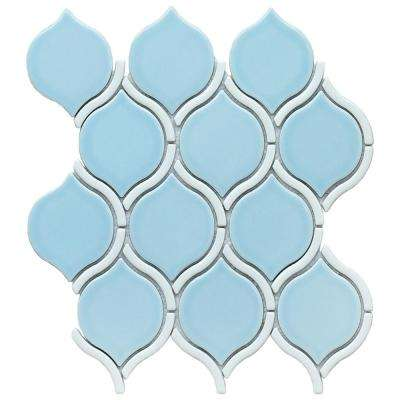 Divine Hera Glossy 10.47 in. x 11.73 in. x 8mm Ceramic Mesh-Mounted Mosaic Tile
