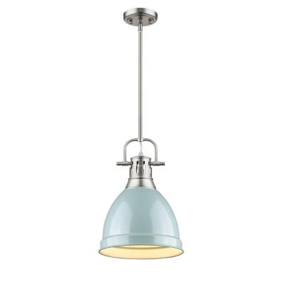 Duncan 1-Light Pewter 8.8 in. Pendant with Sea Foam Shade