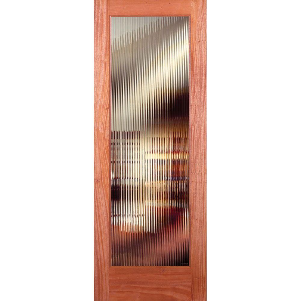 Feather River Doors 24 in. x 80 in. Reed Woodgrain 1 Lite Unfinished Mahogany Interior Door Slab
