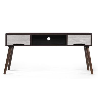 47 in. Walnut Wood TV Console with 2 Drawer Fits TVs Up to 44 in. with Cable Management