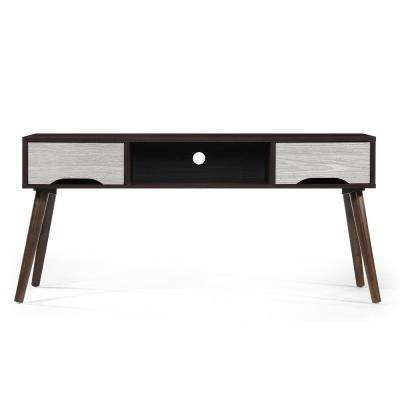 Walnut Brown Wooden TV Console with Oak Gray Accents