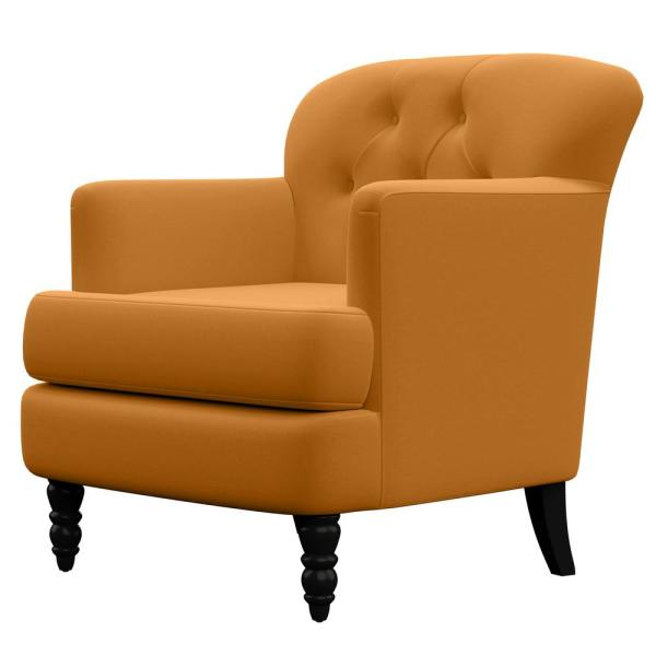 Handy Living Schiferl Mustard Gold Velvet Button Tufted Arm Chair A174190 The Home Depot