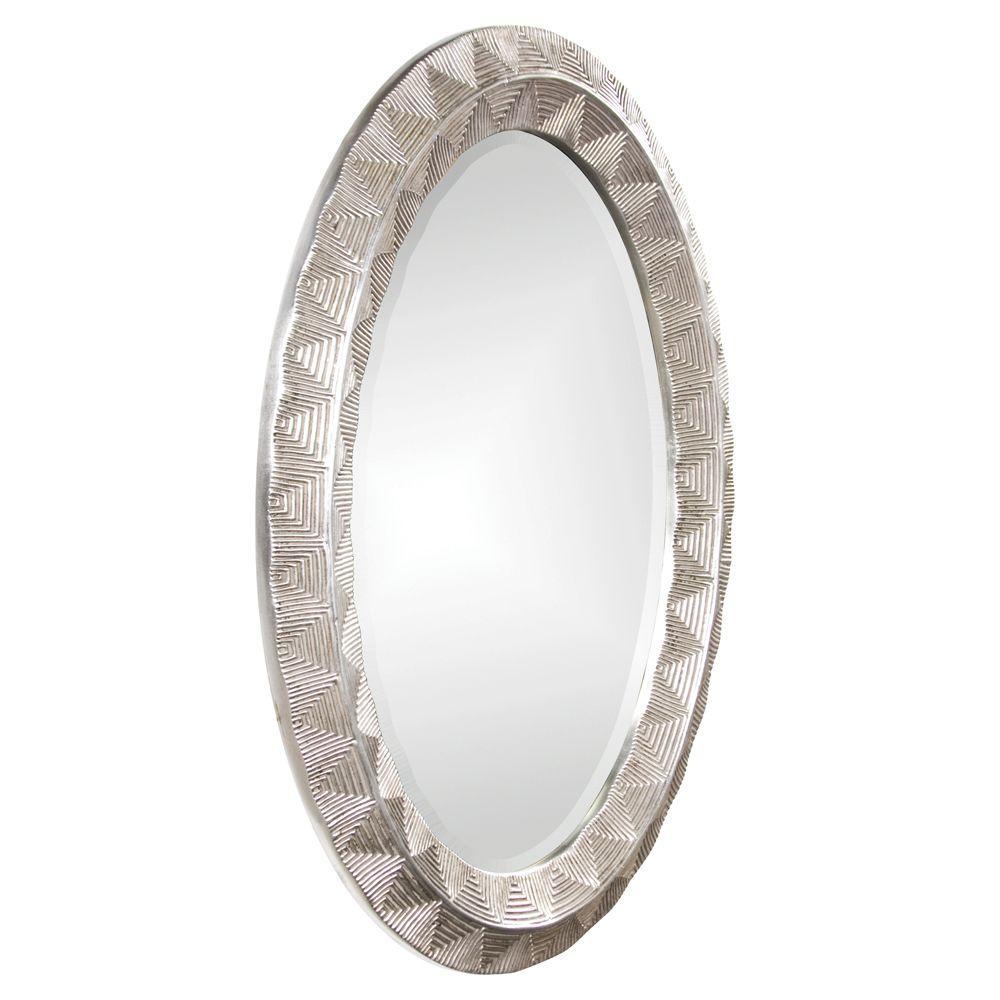 null 45 in. x 33 in. Round Framed Mirror in Antique Silver