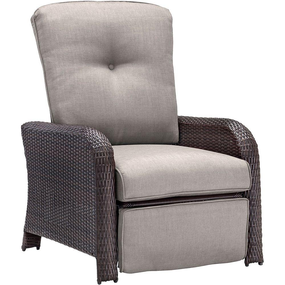 Hanover Strathmere All-Weather Wicker Reclining Patio Lounge Chair with Silver Lining Cushion  sc 1 st  The Home Depot & Hanover Strathmere All-Weather Wicker Reclining Patio Lounge Chair ... islam-shia.org