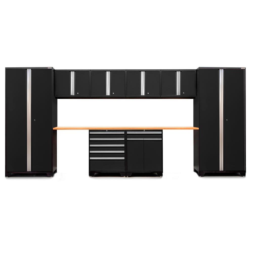 Pro 3.0 85 in. H x 184 in. W x 24 in. D 18-Gauge Welded Steel Bamboo Worktop Cabinet Set in Black (10-Piece)