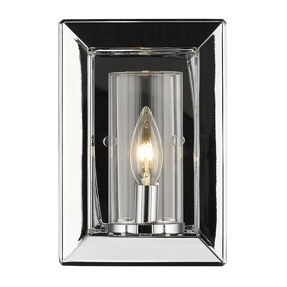 Golden Lighting Smyth 1-Light Chrome Sconce  sc 1 st  Home Depot & Golden Lighting Smyth 1-Light Chrome Sconce-2074-1W CH-CLR - The ...
