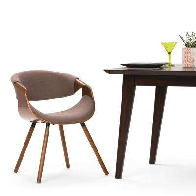 Wayland Mocha and Natural Woven Fabric Bentwood Dining Chair (Set of 1)