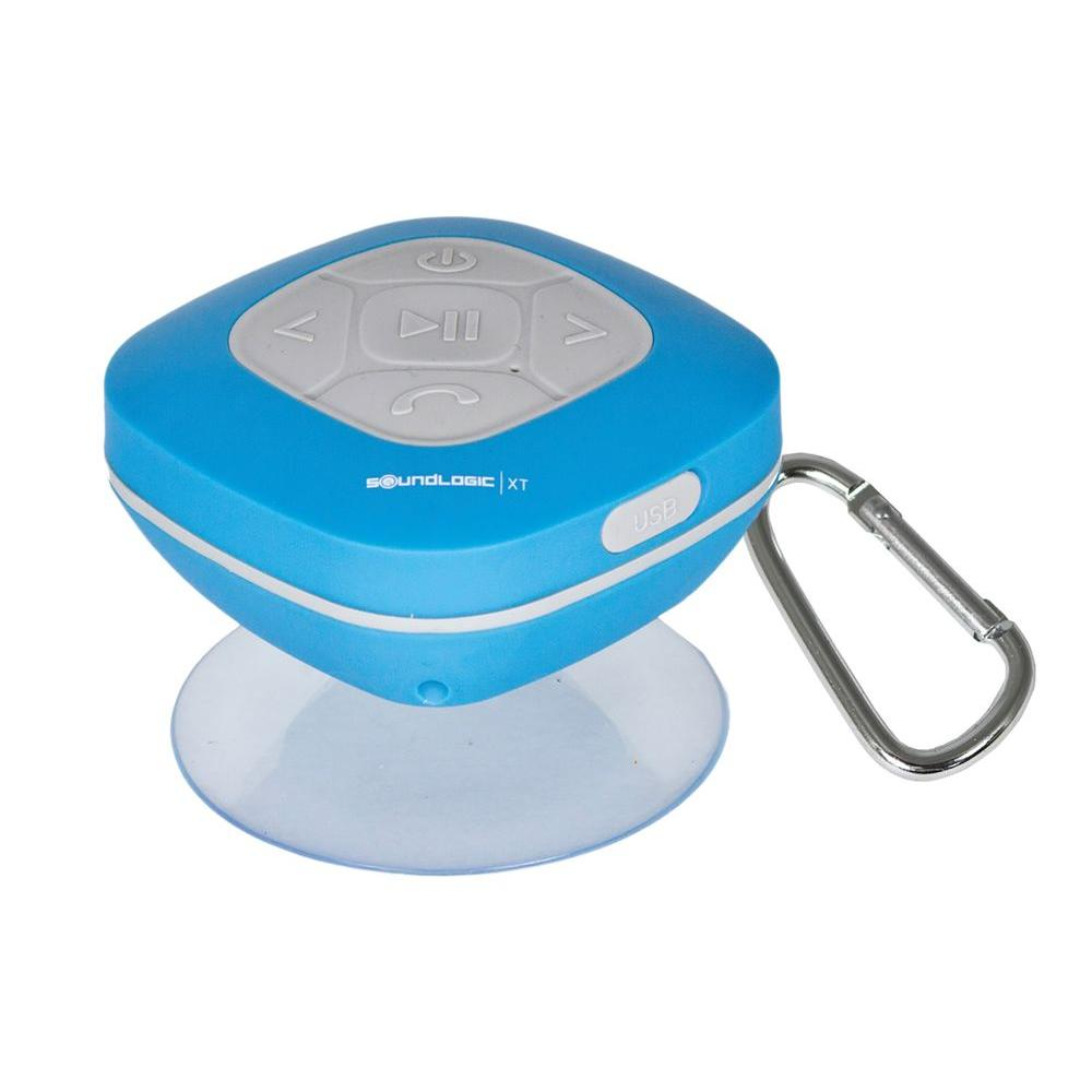 SoundLogic Bluetooth Shower Speaker With FM Radio And Carabiner In Blue-AWS-12/2970L