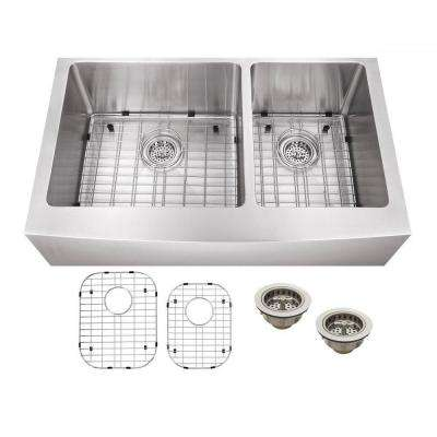 All-in-One Apron Front Undermount Stainless Steel 33 in. Double Bowl Kitchen Sink