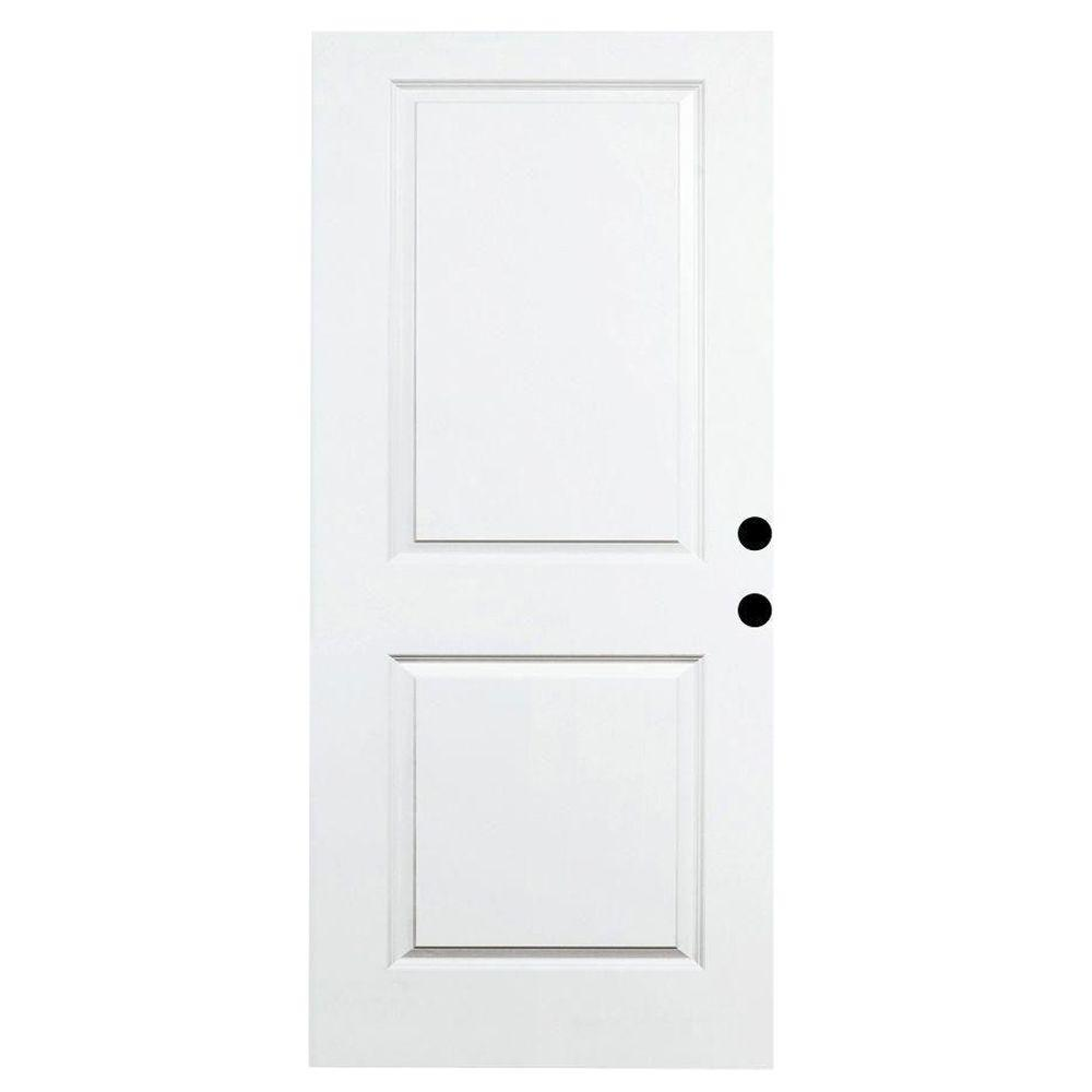 Steves & Sons 32 in. x 79 in. Premium White 2-Panel Square Primed Steel Front Door Slab
