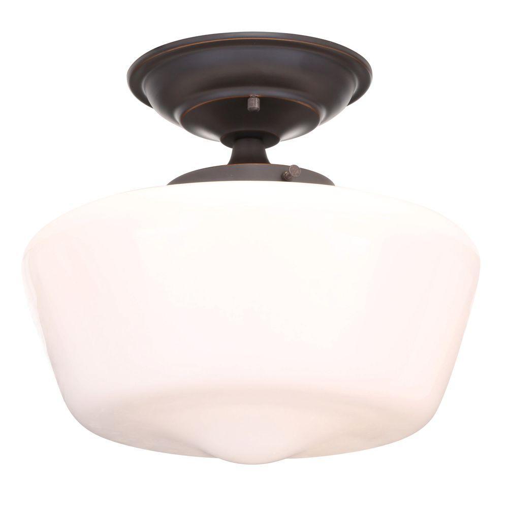 Hampton Bay Esdale 1-Light Oil Rubbed Bronze Semi-Flush Mount Light