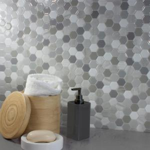 Hexagon Travertino 9.76 in. W x 9.35 in. H Peel and Stick Decorative Mosaic Wall Tile Backsplash (12-Pack)