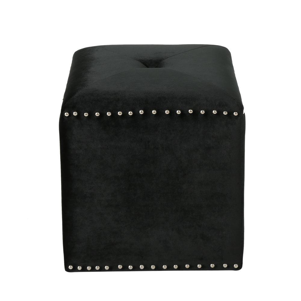 Noble House Brantly Glam Black Velvet Ottoman With Stud