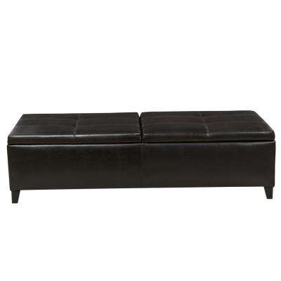 Lanister Brown PU Leather Large Storage Bench