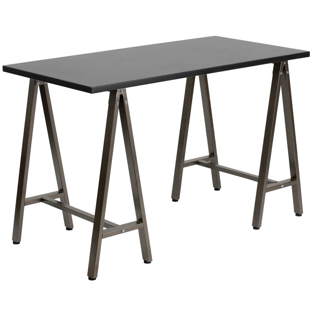 Black Computer Desk with Brown Frame