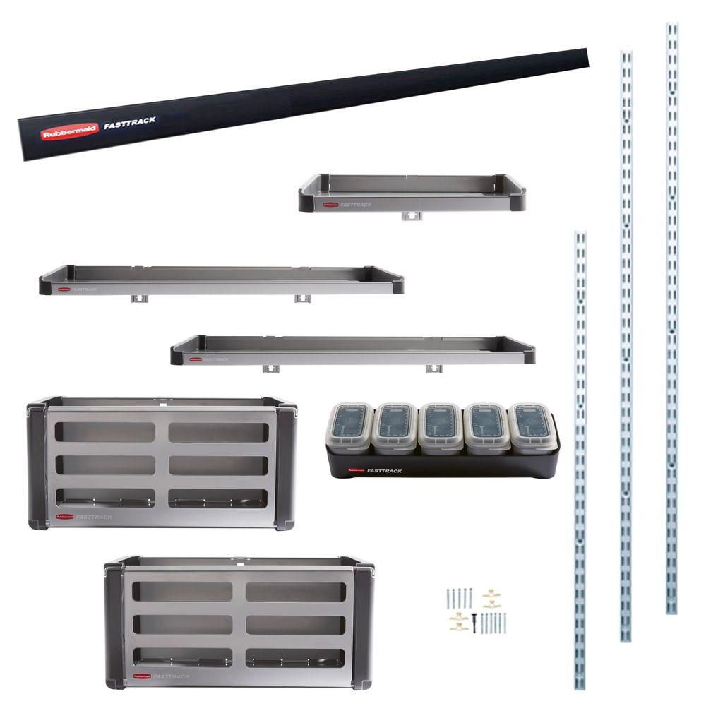 Rubbermaid fasttrack garage rail accessory starter kit 11 for Rubbermaid fasttrack