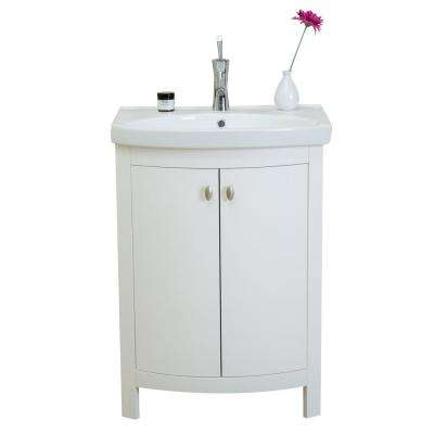 Jersey 24.50 in. W x 19 in. D x 3.50 in. H Vanity in White with Porcelain Top in White with White Basin
