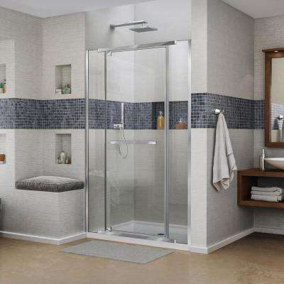 Vitreo-X 36 in. x 48 in. x 74.75 in. Semi-Framed Pivot Shower Door in Chrome with Center Drain White Acrylic Base