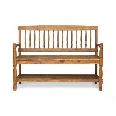 Imperial 2-Person Teak Brown Wood Outdoor Bench with Shelf
