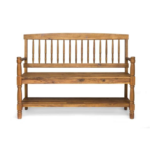 Noble House Imperial 2 Person Teak Brown Wood Outdoor Bench With Shelf 42883 The Home Depot