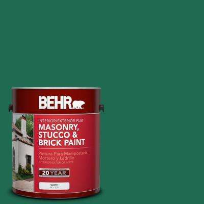 1 gal. #P430-7 Sparkling Emerald Flat Interior/Exterior Masonry, Stucco and Brick Paint