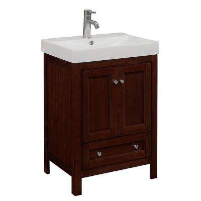 24 in. W x 18.125 in. D x 34 in. H Vanity in Walnut Finish with White Vitreous China Vanity Top and Basin