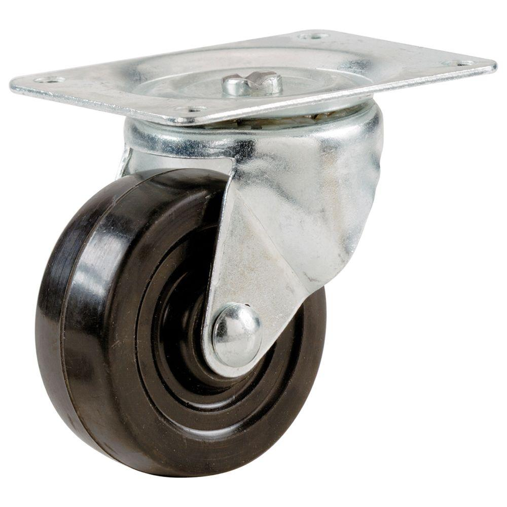 3-Inch Load Capacity Heavy Duty Rubber Caster Wheel with Rigid Non-Swivel Top Plate 225 lb