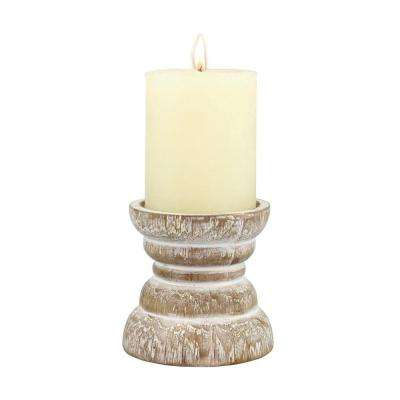 4 in. White Wood Beach House Pillar Candle Holder