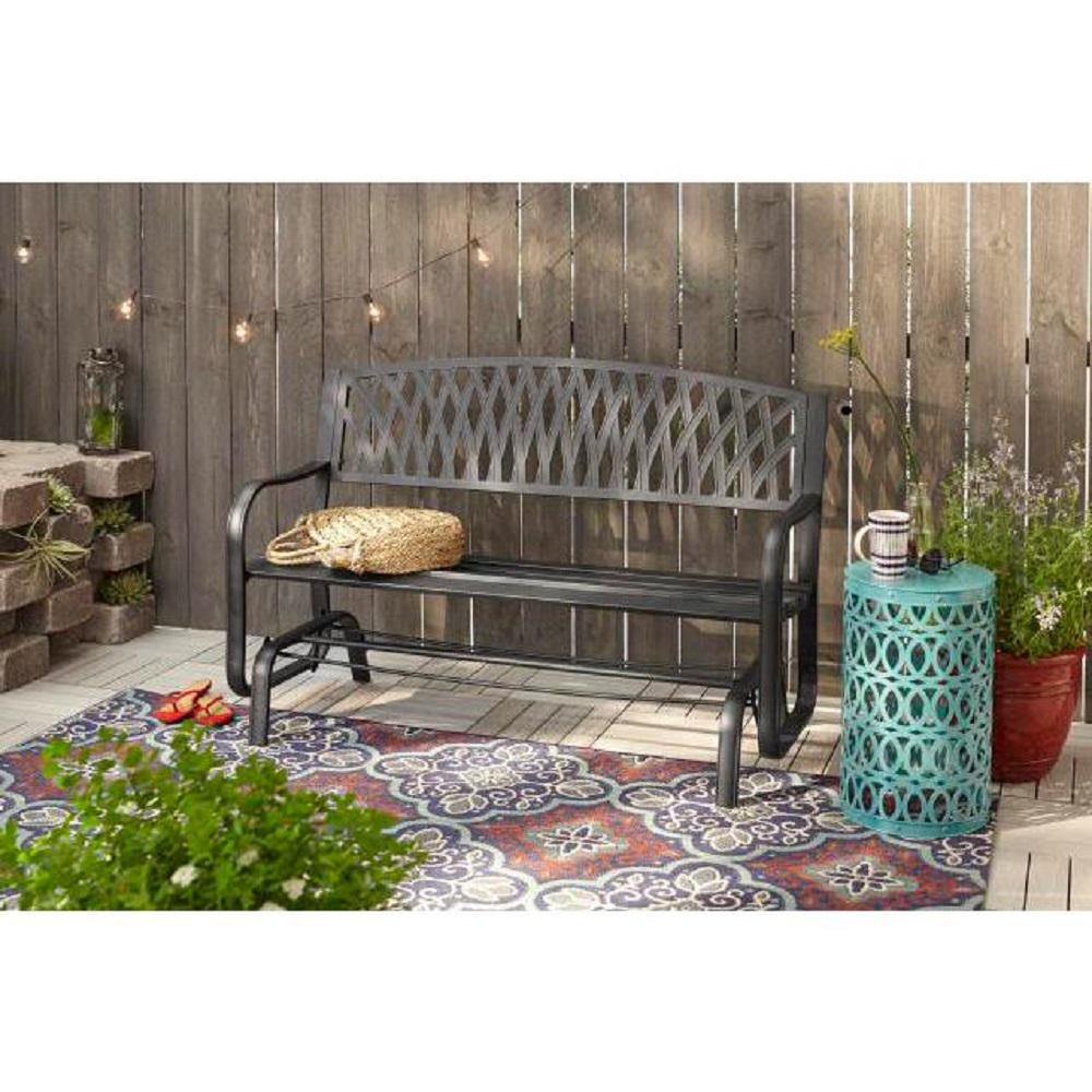 Excellent Hampton Bay Flintridge Black Outdoor Patio Glider Gmtry Best Dining Table And Chair Ideas Images Gmtryco