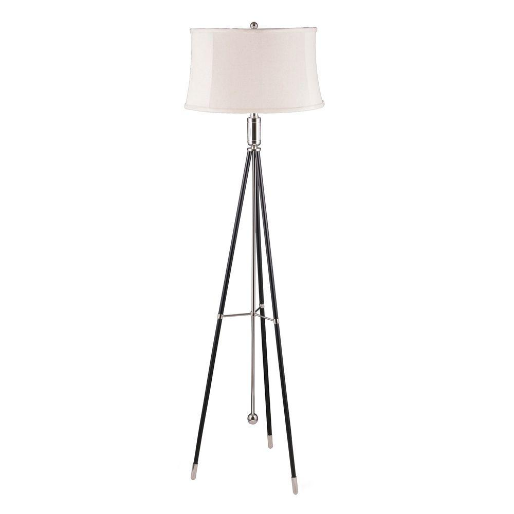 Fangio Lighting 61 in. Polished Nickel and Black Tripod Metal Floor Lamp