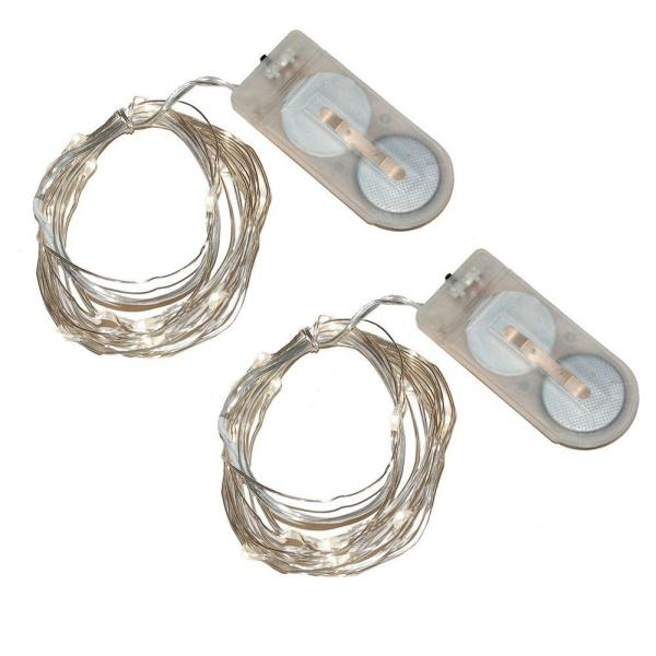 40-Light Mini Battery Operated Waterproof String Lights in White (2-Count)