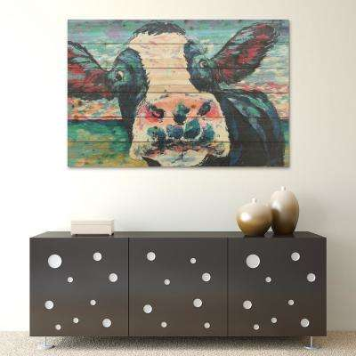 "24 in. x 36 in. ""Curious Cow 2""Arte de Legno Digital Print on Solid Wood Wall Art"