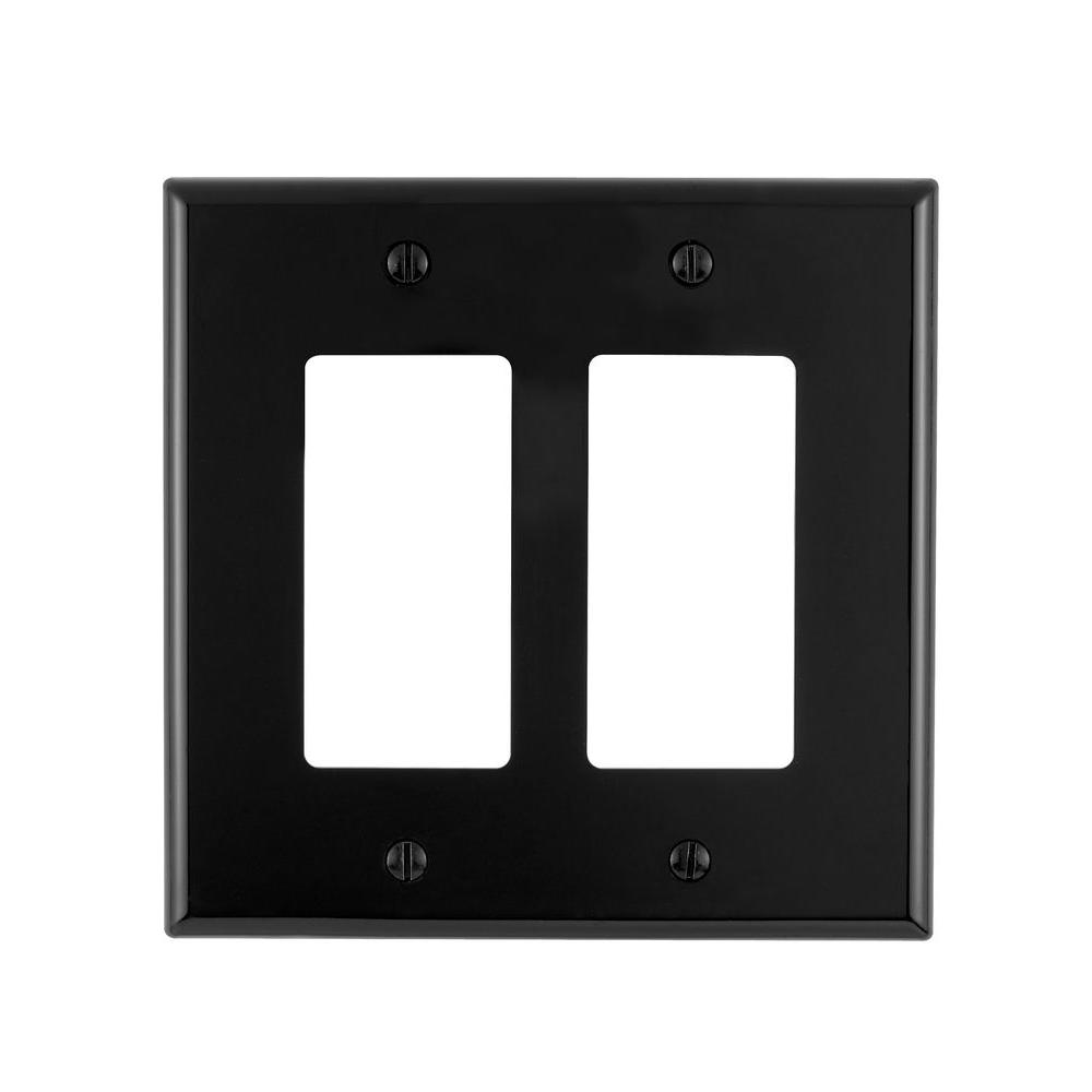 Leviton Black 2 Gang Decorator Rocker Wall Plate 1 Pack R55 Pj262 00e The Home Depot