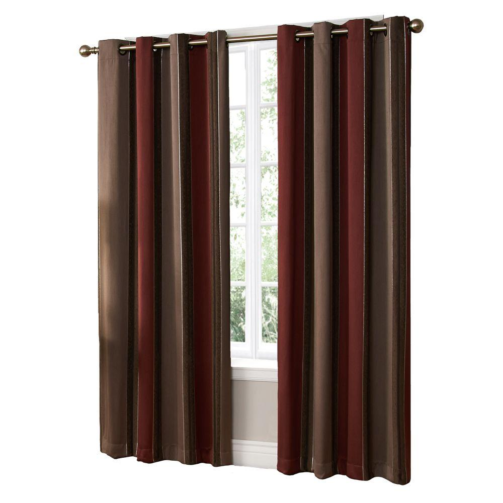 null Semi-Opaque Woodland Brick Grommet Curtain, 84 in. Length-DISCONTINUED