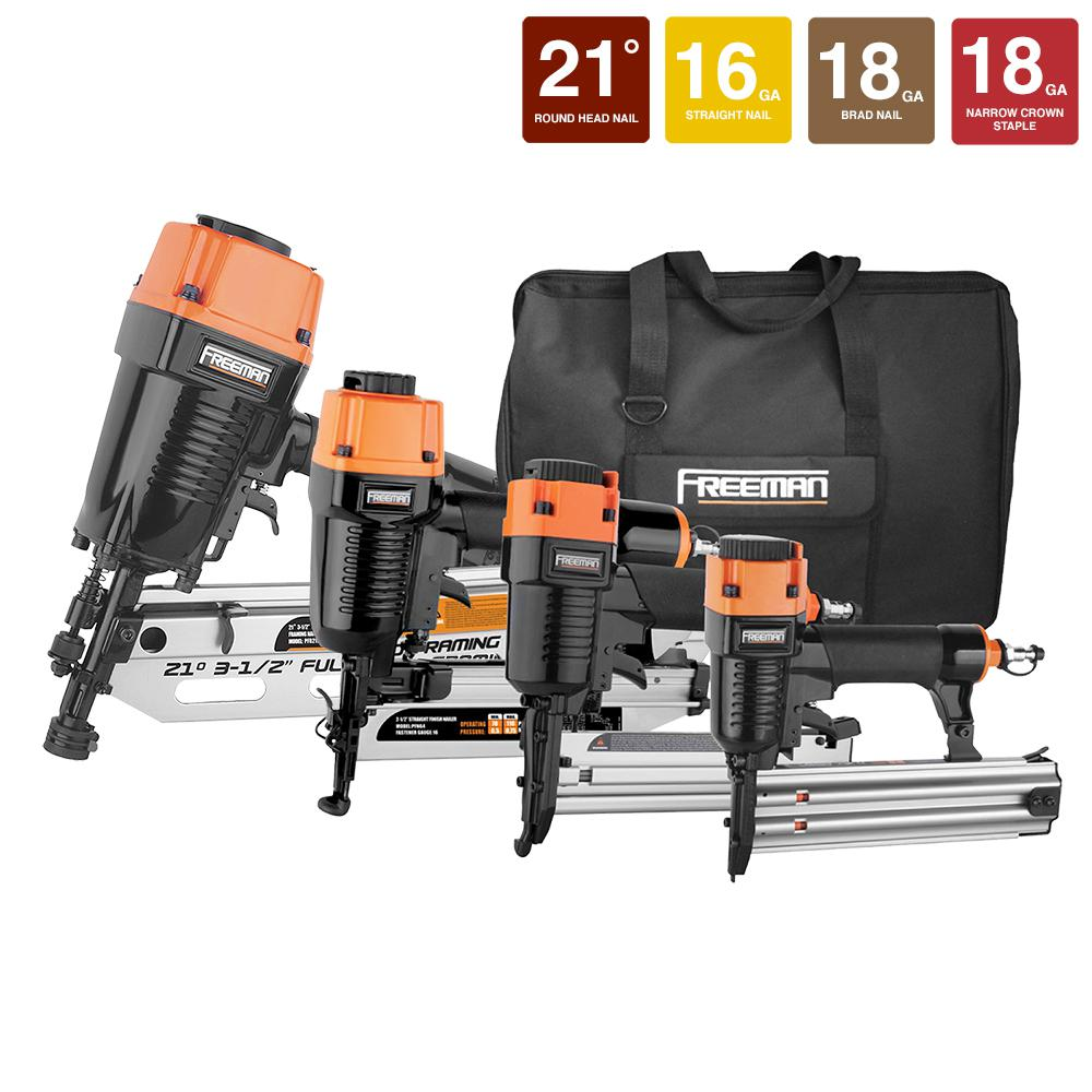 Freeman Pneumatic 4 Piece 21 Degree Framing And Finish Nail Gun Combo Kit  With