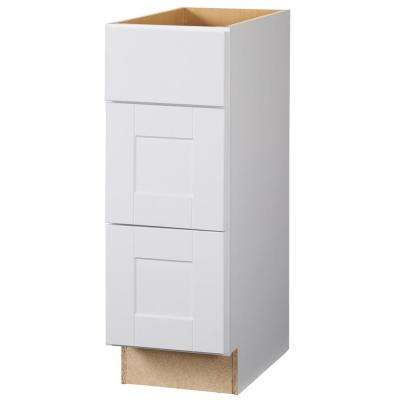 Shaker Assembled 12x34.5x21 in. Bath Vanity Drawer Base Cabinet with Ball-Bearing Drawer Glides in Satin White