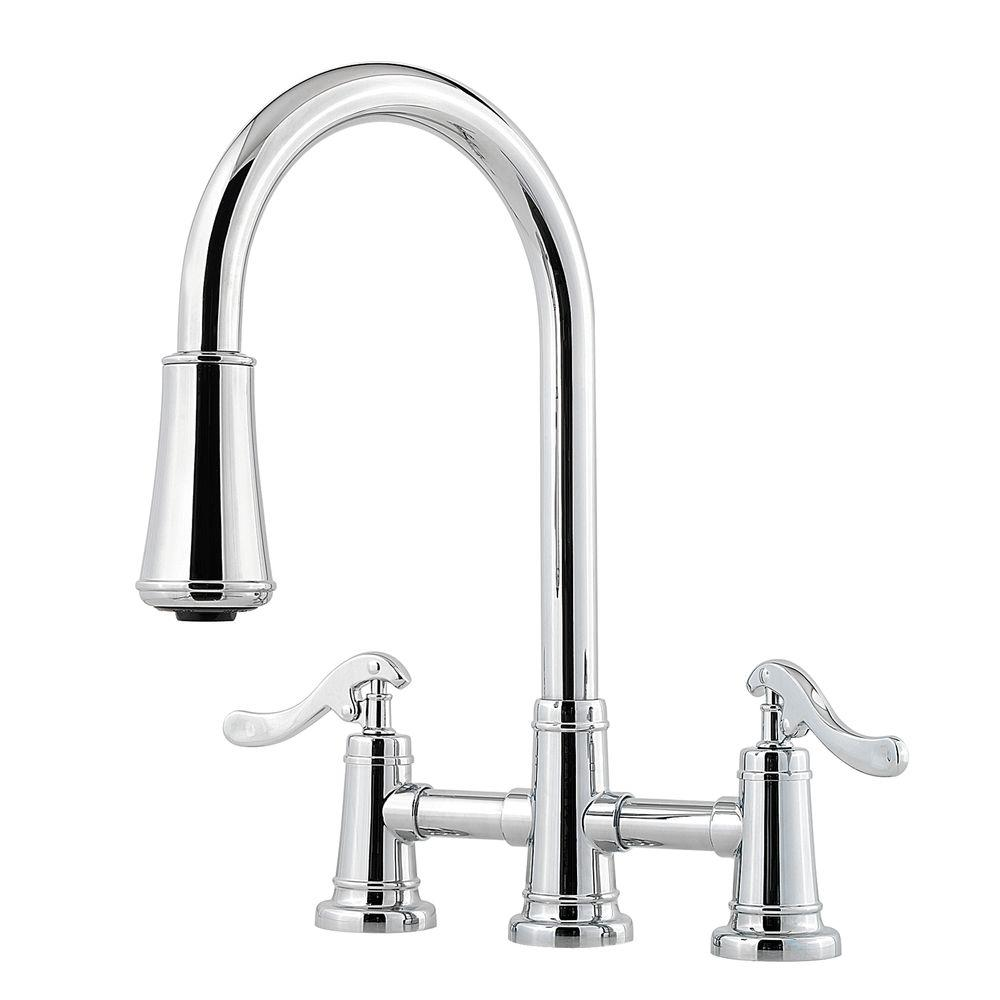 Pfister Ashfield 2 Handle Pull Down Sprayer Kitchen Faucet With Bridge In  Polished Chrome