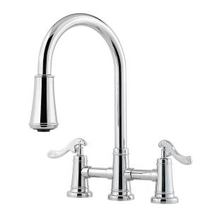 Pfister Ashfield 2-Handle Pull-Down Sprayer Kitchen Faucet with Bridge in Polished Chrome by Pfister
