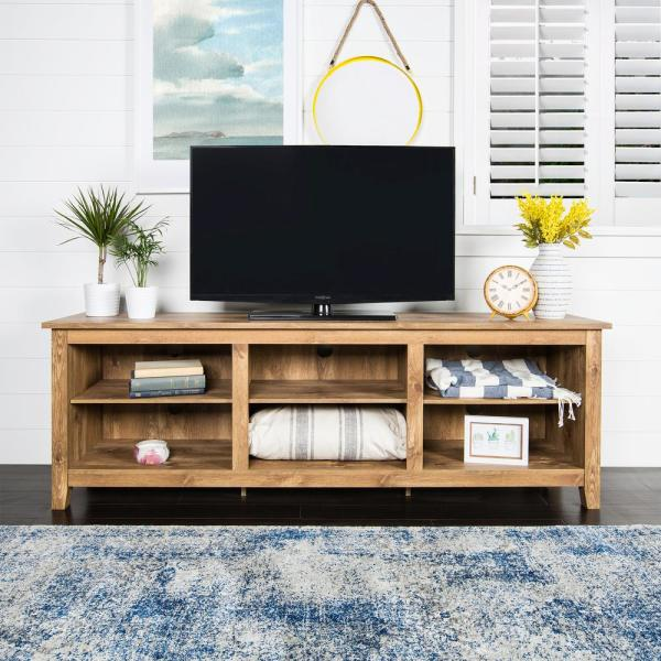 Walker Edison Furniture Company Essential Barnwood Entertainment Center HD70CSPBW