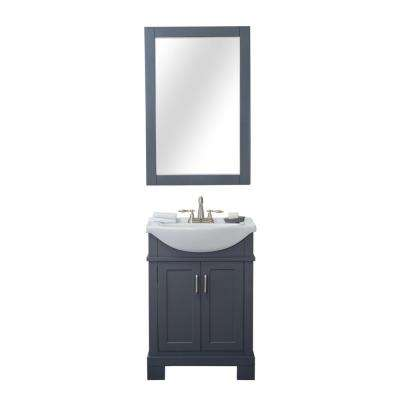 Tacoma 24 in. W x 17.5 in. D x 34.75 in. H Vanity in Gray with Porcelain Vanity Top in White with White Basin