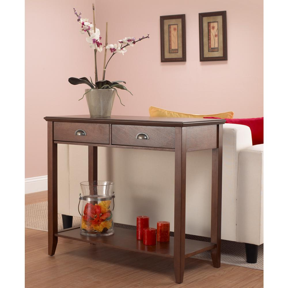 Sheridan Walnut Storage Console Table