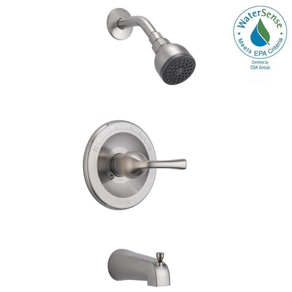 Delta Foundations Single-Handle 1-Spray Tub and Shower Faucet in Brushed Nickel (Valve Included)