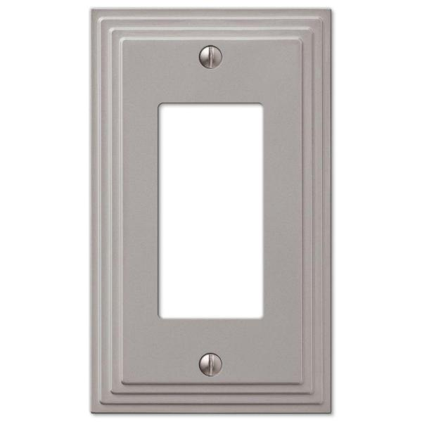 Tiered 1 Gang Rocker Metal Wall Plate - Satin Nickel
