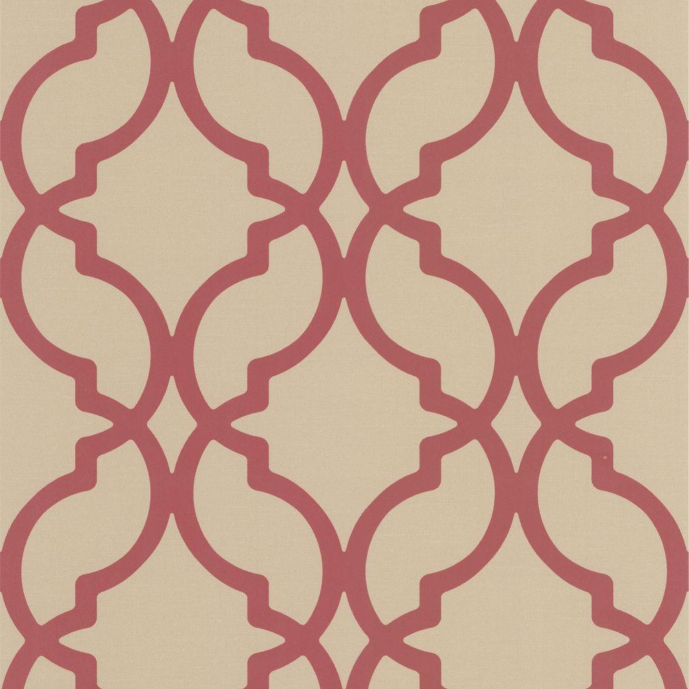 Internet 204206366 Harira Red Moroccan Trellis Wallpaper